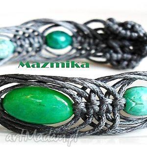 Gray&green- bransoletka makramowa - ,makrama,sznurek,agat,bransoletka,plecione,