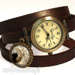 handmade zegarki dmuchawiec - zegarek / bransoletka na skórzanym pasku