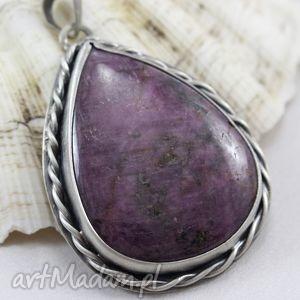 Rubin w srebrnym warkoczu - wisior, rubin, srebro, oksydowane, warkocz