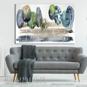 obraz do salonu drukowany na płótnie z drzewem akwarelowy pejzaż brzozami