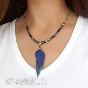 naszyjniki naszyjnik boho z lapis lazuli - stal szlachetna, boho, hematyt
