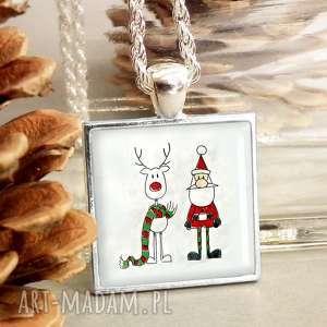 naszyjniki biżuteria na prezent świąteczny mikołaj i renifer, mikołajki, gwiazdkę