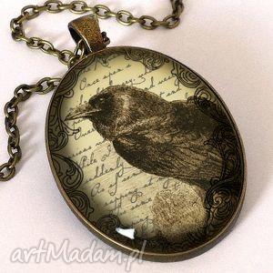 wiktoriański kruk - owalny medalion z łańcuszkiem - wiktoriański, kruk