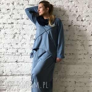 niebo nad sekwaną-komplet, boho zestaw, maxi spódnica, ashmetryczna bluza, etno