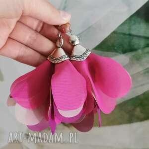 kolczyki dla wielbicielki różu c866, fanki różowego, kwiaty