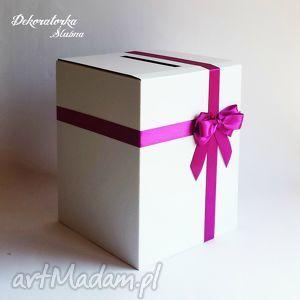 pudełko na kartki z kokardą, pudło, pudełko, kartki, koperty, kokarda, tasiemka ślub