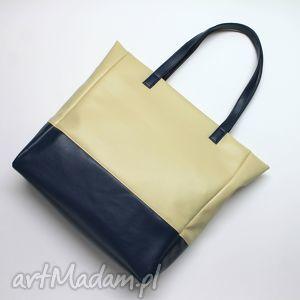 Prezent Shopper Bag - jasny beż i granat, elegancka, nowoczesna, prezent, shopper