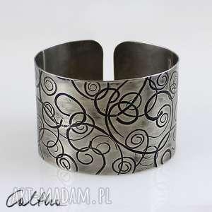 zawijasy - metalowa bransoleta 141113-05, bransiletka, bransoleta, szeroka