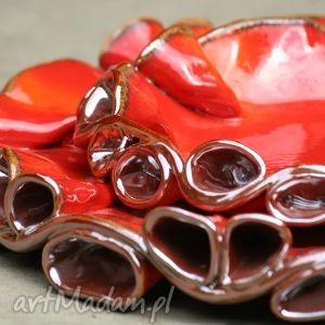 Patery TWIST czerwono-złote, patera, patery, ceramiczne, szkliwione