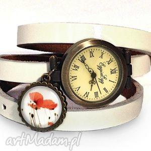 maki - zegarek bransoletka na skórzanym pasku, kwiatowy makami