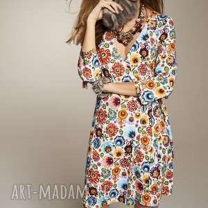 SUKIENKA STANISLAWA 5649, sukienkakopertowa, sukienkazdekoltem, sukienka-w-kwiaty