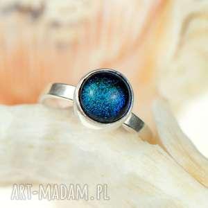 turkusowy błękit pierścionek srebrny a462, pierścionek