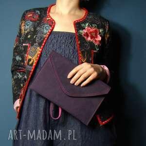 torebka skórzana kopertówka - fiolet z różem, skóra naturalna, unikat