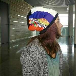 ręcznie zrobione czapki czapka damska patchworkowa smerfetka na podszewce, miękka, lekko