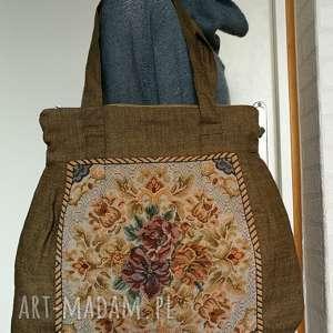 Torba damska lniana z motywem gobelinu na ramię ruda klara