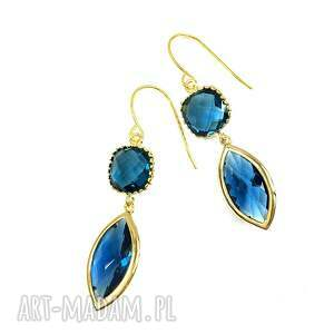 kolczyki kryształy blue sapphire, pozłacane, kolczyki, łezki