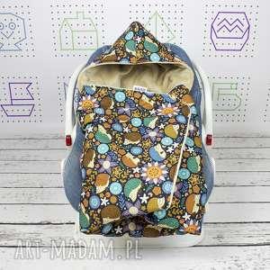 kocyk do nosidła samochodowego jeże, kocyk, nosidło, ciepły, minky, haft