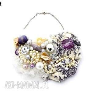 lilly naszyjnik handmade, naszyjnik, fiolet, fioletowy, liliowy, ecru