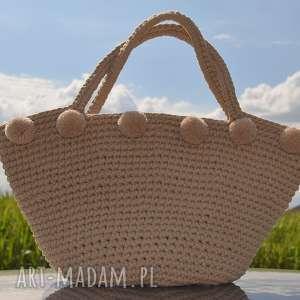 na ramię kosz plażowy, koszyk, bag, torebka, boho, szydełkowy