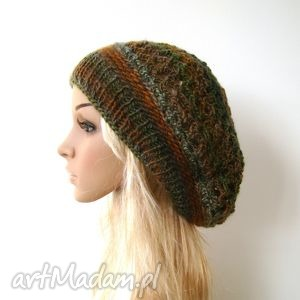 ażurowy beret w jesiennych barwach, beret, czapka, ażur, lekka, jesień, zima