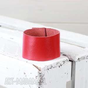 czerwona skórzana bransoleta, skórzana, zapinana, prezent