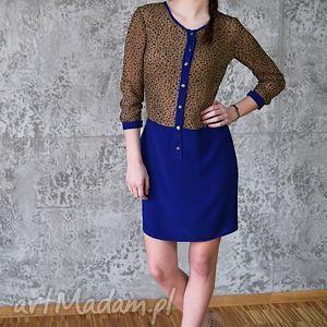 sukienka koszulowa kobalt chic, sukienka, panterka, cętki, koszula, wzór, niebieski