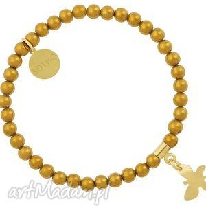 złota dziecięca modowa bransoletka hematyt ze złotym motylem