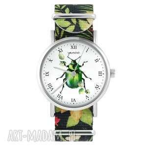 zegarek - zielony żuczek kwiaty, nylonowy, zegarek, nylonowy pasek, typ
