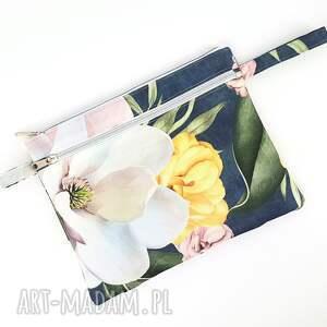 kosmetyczki duża kosmetyczka dwukomorowa w magnolie na dżinsie