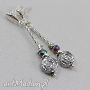 kolczyki hematytowe kwiatki i srebro -kolczyki, hematyt, kwiatki, kolczyki, sztyfty