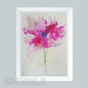 różowy kwiatek-akwarela formatu a4, akwarela, papier, kwiatek
