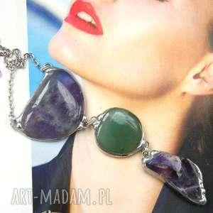 secesyjny wisior z łańcuszkiem ametystowo-zielony, długi naszyjnik, kamieni