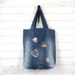 Prezent torba dżinsowa z naszywkami, torba, dżinsowa, naszywki, aplikacje, weekend