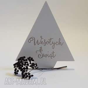 wyjątkowe prezenty, ozdoby świąteczne drewniana choinka biała, święta, bożenarodzenie