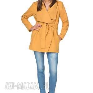 ręczne wykonanie płaszcze płaszczyk jesienny z flauszu t216, musztardowy