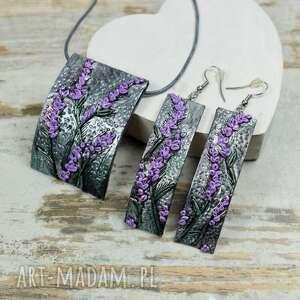 kameleon lawenda -komplet biżuterii długie kolczyki i zawieszka