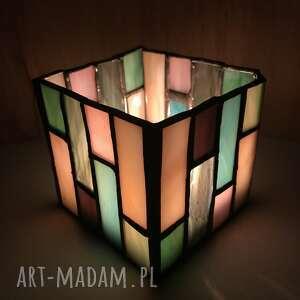 witraże nowoczesny świecznik witrażowy styl art deco - pastelowy