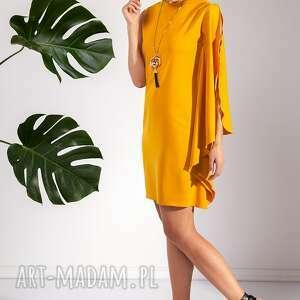 sukienki sukienka folami, asymetryczna, musztardowa, oryginalna, stylowa, letnia