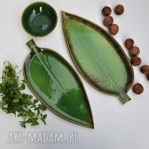 Zestaw ceramiczny - 2 x talerz liść plus miseczka ceramika tyka