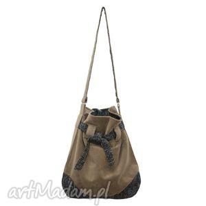 12-0007 szaro-beżowa torba worek xxl torebka na zakupy sparrow maxi, duże, torby