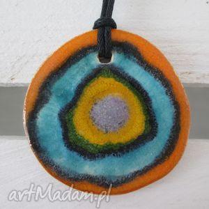 wisior z dwiema stronami, ceramiczny, wisior, kolorowy, dwustronny