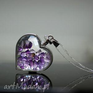 naszyjniki 925 srebrny łańcuszek amethyst, serduszko, serce, kamień, walentynki