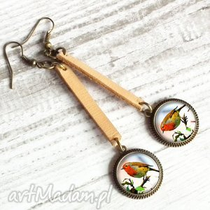 ręcznie robione kolczyki kolczyki ptaszki :: długie kolczyki ze skóry i szkła