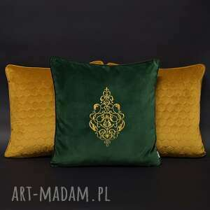 poduszki welur, aksamit, haft komplet złoto i butelkowa zieleń 45x45cm