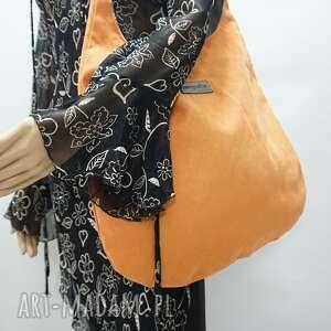 hand-made na ramię worek hobo size xl kolor przygaszona pomarańczat