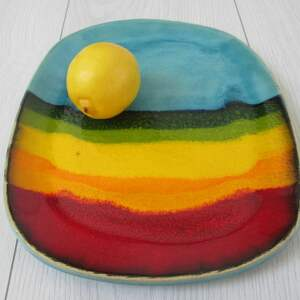 Prezent tęczowy talerz ceramiczny, patera-ceramiczna, tęczowy-talerz