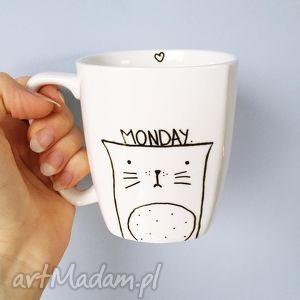 kubek z kotem monday - ,kot,kubek,monday,poniedziałek,malowane,śmieszne,