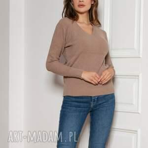 sweter w prążek - swe146 mocca, sweter, brązowy prążek