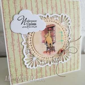Prezent Kartka urodzinowa, kubuś, puchatek, prezent, urodziny, dziecko, kartka