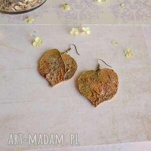 Kolczyki z efektem rdzy w kształcie liści lipy sirius92 liście